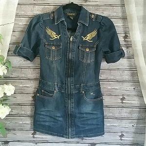 Rocawear Embroidered Zip Front Mini Denim Dress